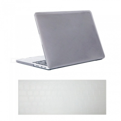Dayspirit Ultra Slim Crystal Hard Case + Keyboard Cover for Macbook Pro 15-Inch A1398 with Retina Display - Gray