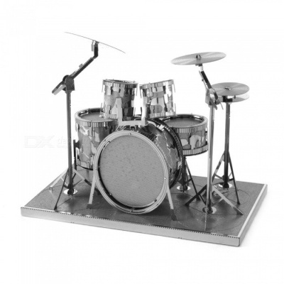 DIY Jigsaw Puzzles, 3D Stainless Steel Metal Shelves Drum Instrument Assembly Model Educational Toy - Silver