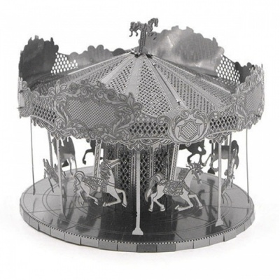 DIY Jigsaw Puzzle, 3D Stainless Steel Metal Playground Carousel Assembly Model Educational Toy - Silver