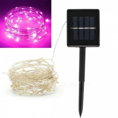 JRLED 10m IP65 Waterproof Pink Solar Powered Copper Wire String Light