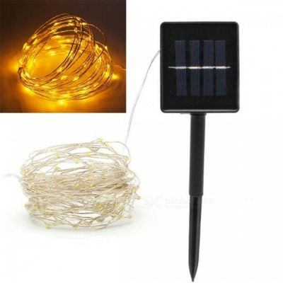 JRLED 10m IP65 Waterproof Yellow Solar Powered Copper Wire String Light
