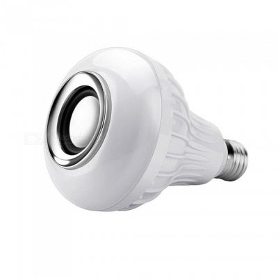 P-TOP 1200LM 12-LED E27 Smart RGB Wireless Bluetooth Speaker Bulb, Music Playing Dimmable Bulb Light