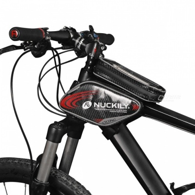 NUCKILY PL05 Waterproof Touch Screen Bicycle Saddle Bag for Upper Pipe - Red (L)