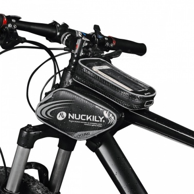 NUCKILY PL05 Waterproof Touch Screen Bicycle Saddle Bag for Upper Pipe - Grey (L)