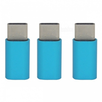 Mini Smile Aluminium Alloy USB 3.1 Type-C to Micro USB Data Charging Adapters - Blue (3PCS)