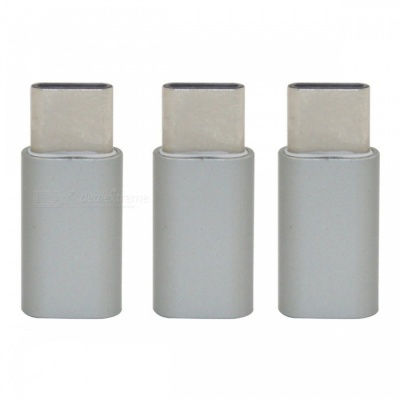 Mini Smile Aluminium Alloy USB 3.1 Type-C to Micro USB Data Charging Adapters - Gray (3PCS)