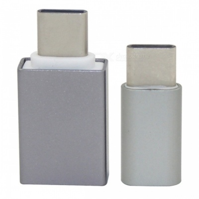 Mini Smile Aluminum Alloy USB 3.1 Type-C to Micro USB + USB 3.0 OTG Adapters - Grey