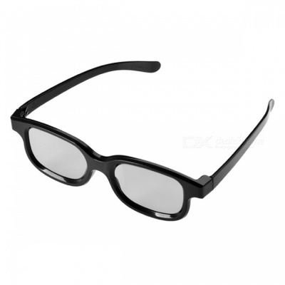 Re-useable Plastic Frame Resin Lens Anaglyphic 3D Glasses - Black (2 PCS)