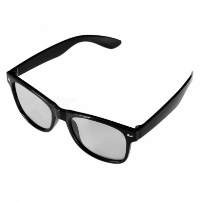 Re-useable Plastic Frame Passive Circular Polarized 3D Glasses for Cinema - Black