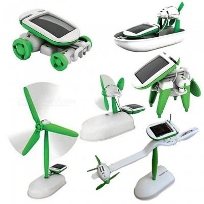 6-in-1 Educational Toy Kit DIY Solar Energy Toy for Kids - Mix Color