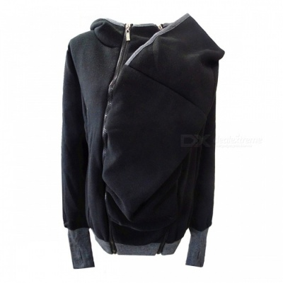Creative Kangaroo Style Zippered Removable Sweater Hoddie Coat for Women - Black (L)