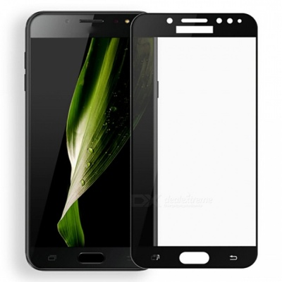 Naxtop Tempered Glass Full Screen Protector for Samsung Galaxy C8 - Black