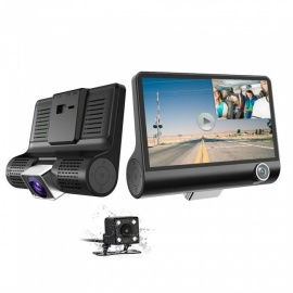 Car DVR Cam 960P HD 3 Channel Car Dashbord Camera, 140 Degree Wide Angle Car Recorder with 4