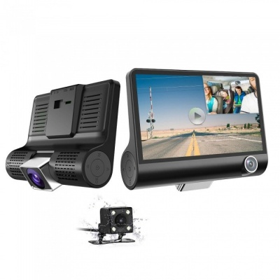 """Car DVR Cam 1080P HD 3 Channel Car Dashbord Camera, 140 Degree Wide Angle Car Recorder with 4"""" IPS Display, G-Sensor, HDR"""