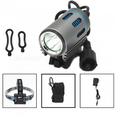 ZHAOYAO Ultrabright Bicycle L2 LED Flashlight Headlight Mountain Bike Headlamp - Grey + Blue