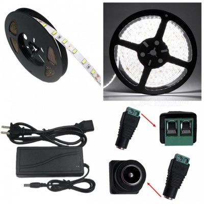 ZHAOYAO Non-Waterproof 5m 72W DC 12V 5630-300LEDs Cold White LED Strip Light with 5A US Plug Charger + DC Female Connector