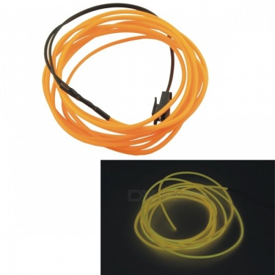CARKING 2m Long 2.3mm Dia Flexible EL Wire Neon Glow Strip Rope - Yellow Light