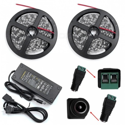 ZHAOYAO Non-Waterproof 140W DC 12V 10m 3528SMD-1200LEDs Cold White LED Strip Light with 10A US Plug Charger + DC Connector