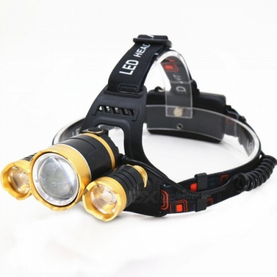 ZHAOYAO Ultrabright Cool 3-LED T6 Flashlight Headlight Headlamp for Camping, Hunting, Fishing
