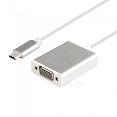 Dayspirit Aluminum Alloy USB 3.1 Type-C to VGA Adapter Cable - Silver
