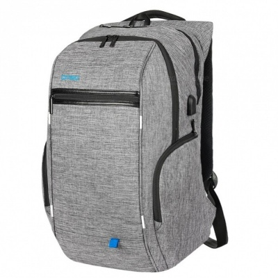 DTBG Nylon Backpack with USB Port for 17~17.3 Inches Laptop / Notebook / Computer - Grey