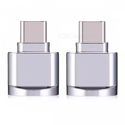 Mini Portable Type-C USB Interface Micro SD Card Reader, OTG Adapter - Silver White (2 PCS)