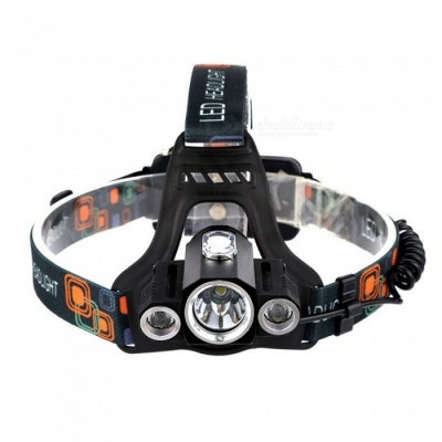 ZHAOYAO T6 XPE 3-LED Waterproof USB Rechargeable 4-Mode Headlamp, Bicycle Light - Black