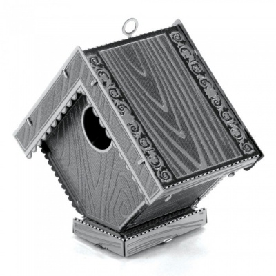 DIY Puzzle, 3D Stainless Steel Metallic Bird House Assembly Model Educational Toy, Gift, Home Decoration - Silver