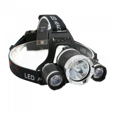ZHAOYAO Outdoor 3-LED T6 Headlamp Headlight for Camping, Fishing, Riding, Hunting - Black + Red