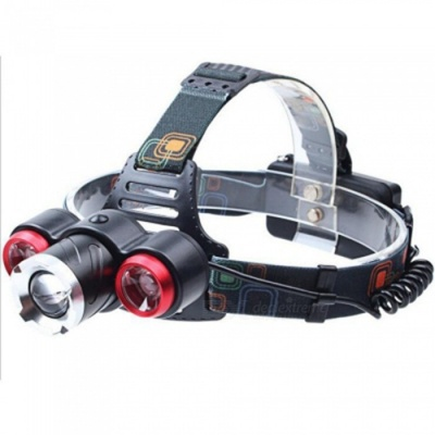 ZHAOYAO Ultrabright Waterproof LED Headlight Headlamp for Fishing, Camping - Red + Black