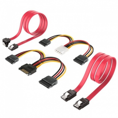 """Qook JHST003 3.5"""" SATA III Hard Drive Connection Cables, Compatible with All SATA Connectors (4 PCS)"""
