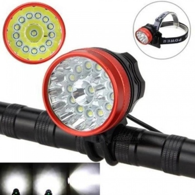 ZHAOYAO Mountain Bike 14-LED T6 Headlight Headlamp Riding Light Lamp - Red + Black