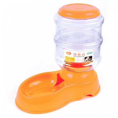 P-TOP 3.5L Automatic Plastic Pet Food Feeder, Large Dog Pets Puppy Food Dish Bowl - Orange