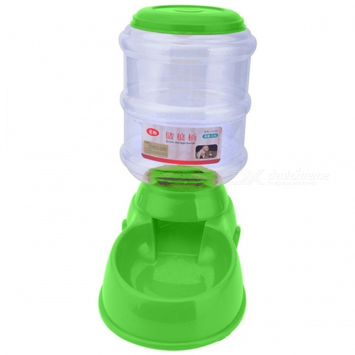 P-TOP 3.5L Automatic Plastic Pet Food Feeder, Large Dog Pets Puppy Food Dish Bowl - Green