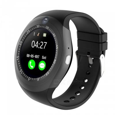 """1.54"""" Round Touch Screen Smart Watch, Supports Pedometer, Sedentary Reminder, 0.3MP Camera, Sim Card - Black"""