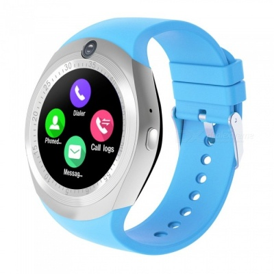 """1.54"""" Round Touch Screen Smart Watch, Supports Pedometer, Sedentary Reminder, 0.3MP Camera, Sim Card - Blue"""