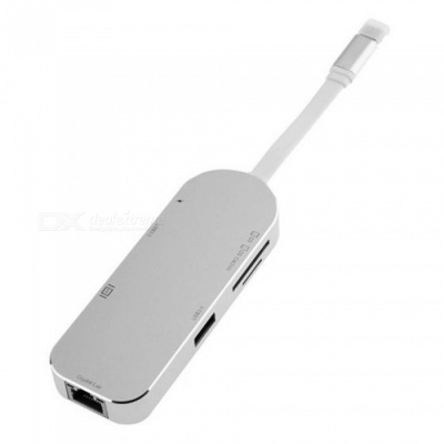Maikou 7-in-1 Type-C to 2-Port USB3.0 Hub, SD/TF Card Reader w/ HDMI, Gigabit Lan - Silver