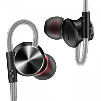 QKZ DM10 Zin Alloy Stereo Wired Earphone with Mic, Magnetic Adsorption, Noise Cancelling In-Ear Earbud for Smartphones - Black