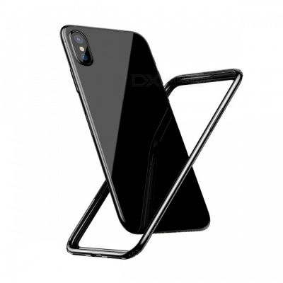 Baseus Shockproof Protective PC + Soft TPU Bumper Border Frame Case for IPHONE X - Black