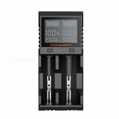 FOLOMOV A2 High Current Quick Charge Dual Slot Battery Charger w/  LCD Display - Black (EU Plug)