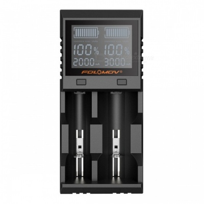 FOLOMOV A2 High Current Quick Charge Dual Slot Battery Charger w/ LCD Display - Black (US Plug)