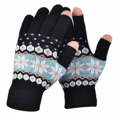 Women's Stylish Winter Touch Screen Gloves Riding Cashmere Thickened Warm Full Finger Gloves for Mobile Phone Tablet PC - Black
