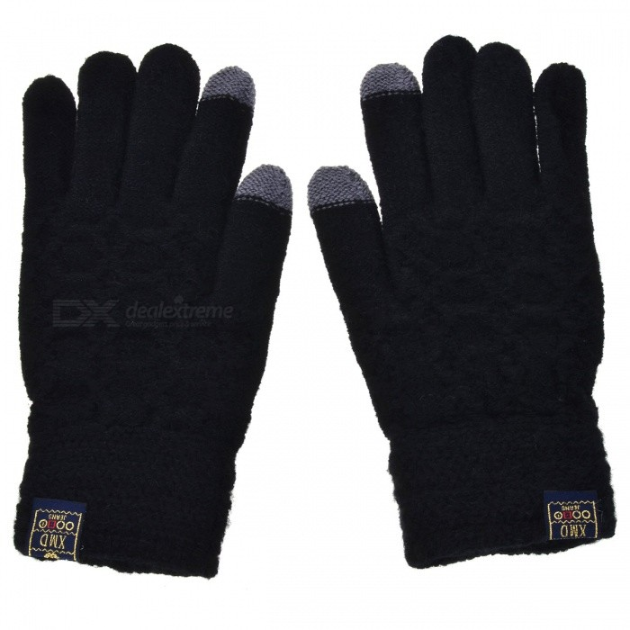Men' Stylish Winter Touch Screen Gloves Riding Cashmere Thickened Warm Full Finger Gloves for Mobile Phone Tablet PC - Black