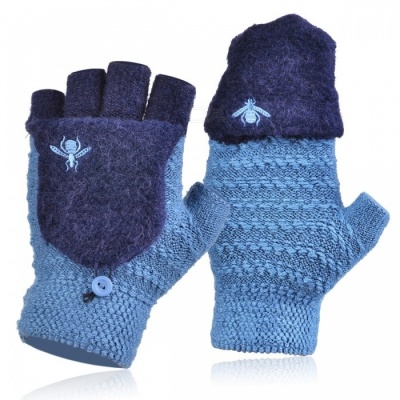 Bumblebee Pattern Velvet Padded Half-Finger Flip Knitted Gloves for Men in Winter, Warm Soft & Feel Comfortable - Blue
