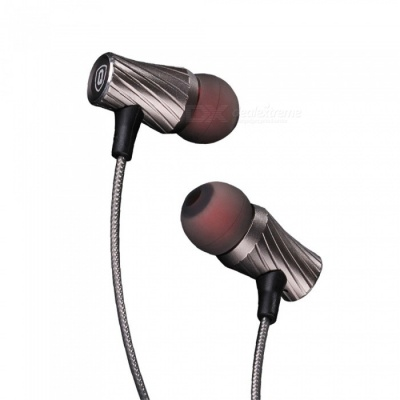 QKZ DM3 Zin Alloy Stereo Wired Earphone with Mic, Noise Cancelling In-Ear Earbud for Smartphones - Gray
