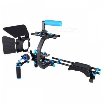 YELANGU D206 Professional Aluminium Alloy DSLR Camera Shoulder Rig Kit w/ Matte Box + Follow Focus + C-shaped Support