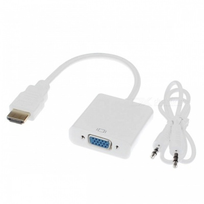Cwxuan HDMI Male to VGA Female Converter Adapter Cable w/ 3.5mm Audio Port for PC Laptop DVD - White