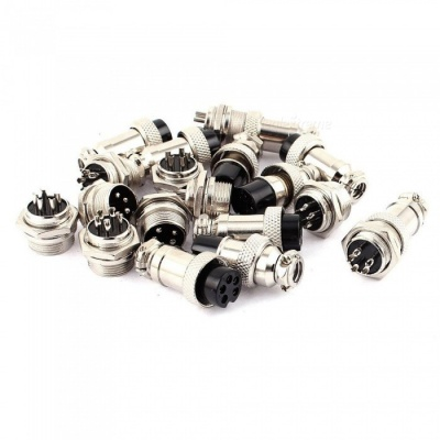 16mm Thread 5 Pins Male Female Panel Metal Aviation Wire Connector (10 Pairs)
