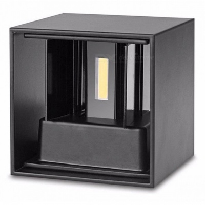 P-TOP Modern Waterproof 7W Cold White LED Wall Lamp for Indoor Outdoor Up and Down Lighting - Black