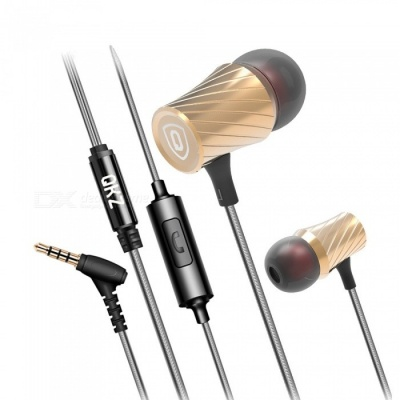 QKZ DM3 Zin Alloy Stereo Wired Earphone with Mic, Noise Cancelling In-Ear Earbud for Smartphones - Golden